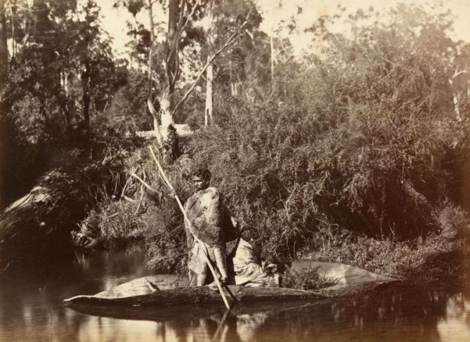 Taken by Fred Kruger in Coranderrk Victoria in 1883, Aboriginal men in canoe