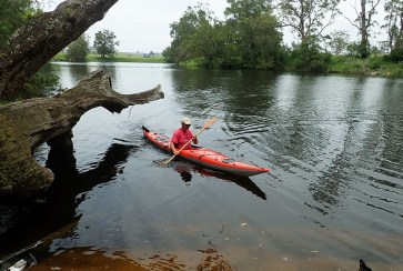 Leader Ian tests out Mary's new kayak.