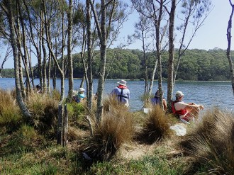 Morning tea in perfect conditions on the Moruya River.