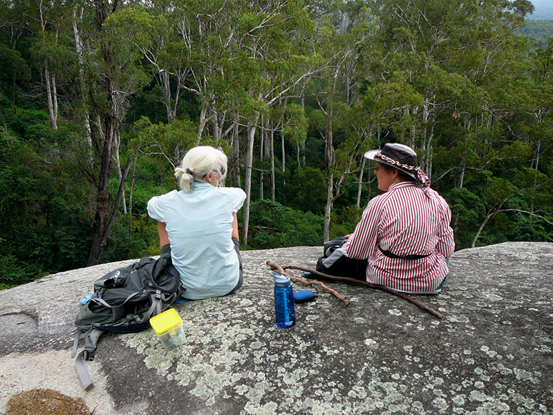 Sharon and Betty enjoy a well earned lunch at the waterfall.