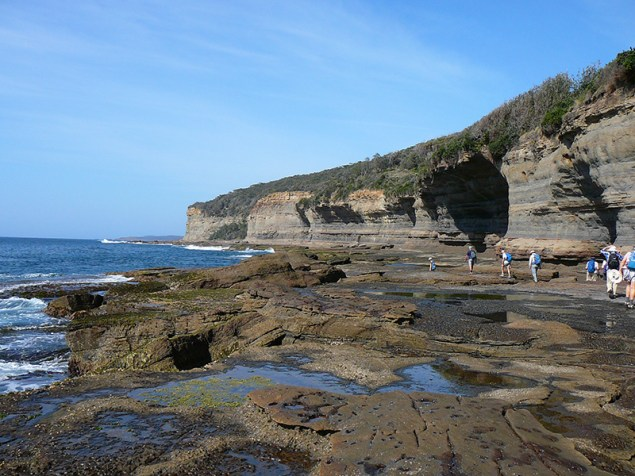The view down the coast from the rock platform.