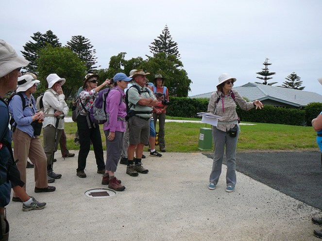 Leader Denise tells the group about the history of 'Tuross House'.