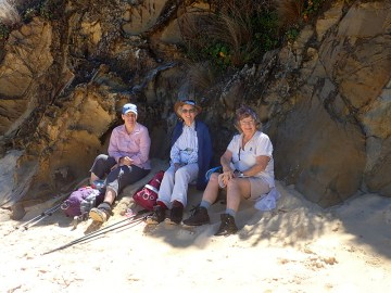 Donna, Betty and Pat enjoy a little shade at lunch time.