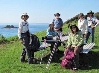 Leader Mary, Erika, visitor Bruce, Denise and Donna and Philip, morning tea at Meringo Headland.