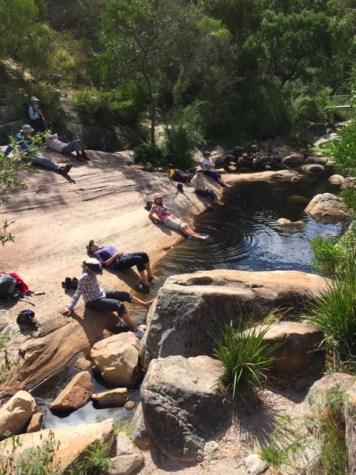 The 'ladies' cool their feet at Venus Baths.