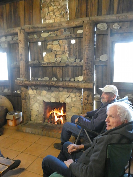 Camp Kitchen - Bob and Dennis enjoying the fire