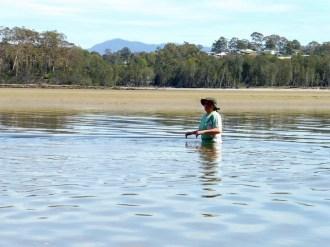Wendy testing the water depth