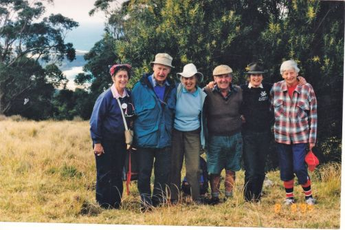 1995 Durras Mountain 10th Anniversary Commemorative Walk - Betty Ewart, David & Pat Brown, Dennis Ewart, Valerie Harris and Marion Sanders