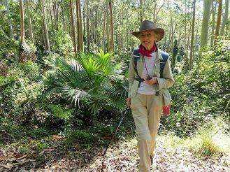 2018 Val leads her Spotted Gum Road walk in Murramarang NP
