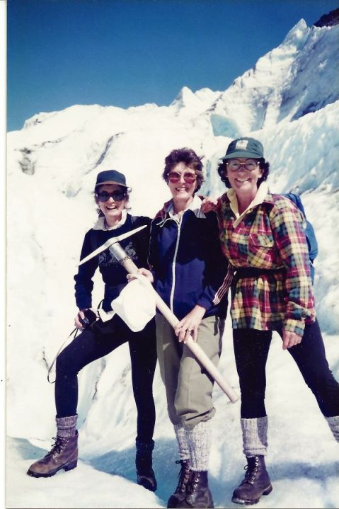 1996 With Betty and Pat on Franz Josef Glacier, NZ