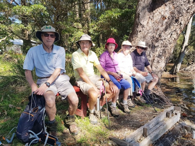 Rodney, Mike, Lesley, Lyn and Barry found a great seat for a break