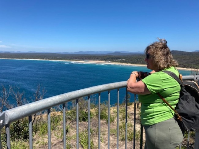 Deborah enjoying the view from Point Upright to North Durras