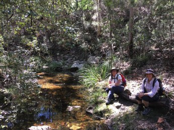 Gay and Helen enjoying the water in Coila Creek