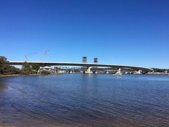 The elegant sweep of the new Batemans Bay Bridge