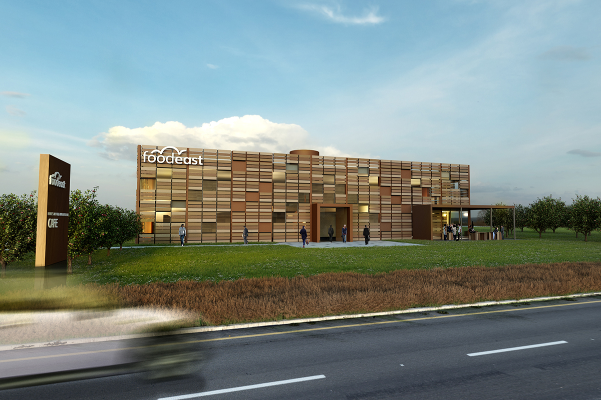 An artist's impression of Foodeast centre of excellence for food, beverage and agri-tech innovation.
