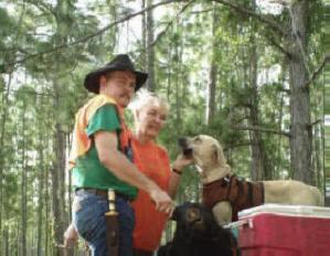 Bombing range -- Eugene and Alice with dog Rock