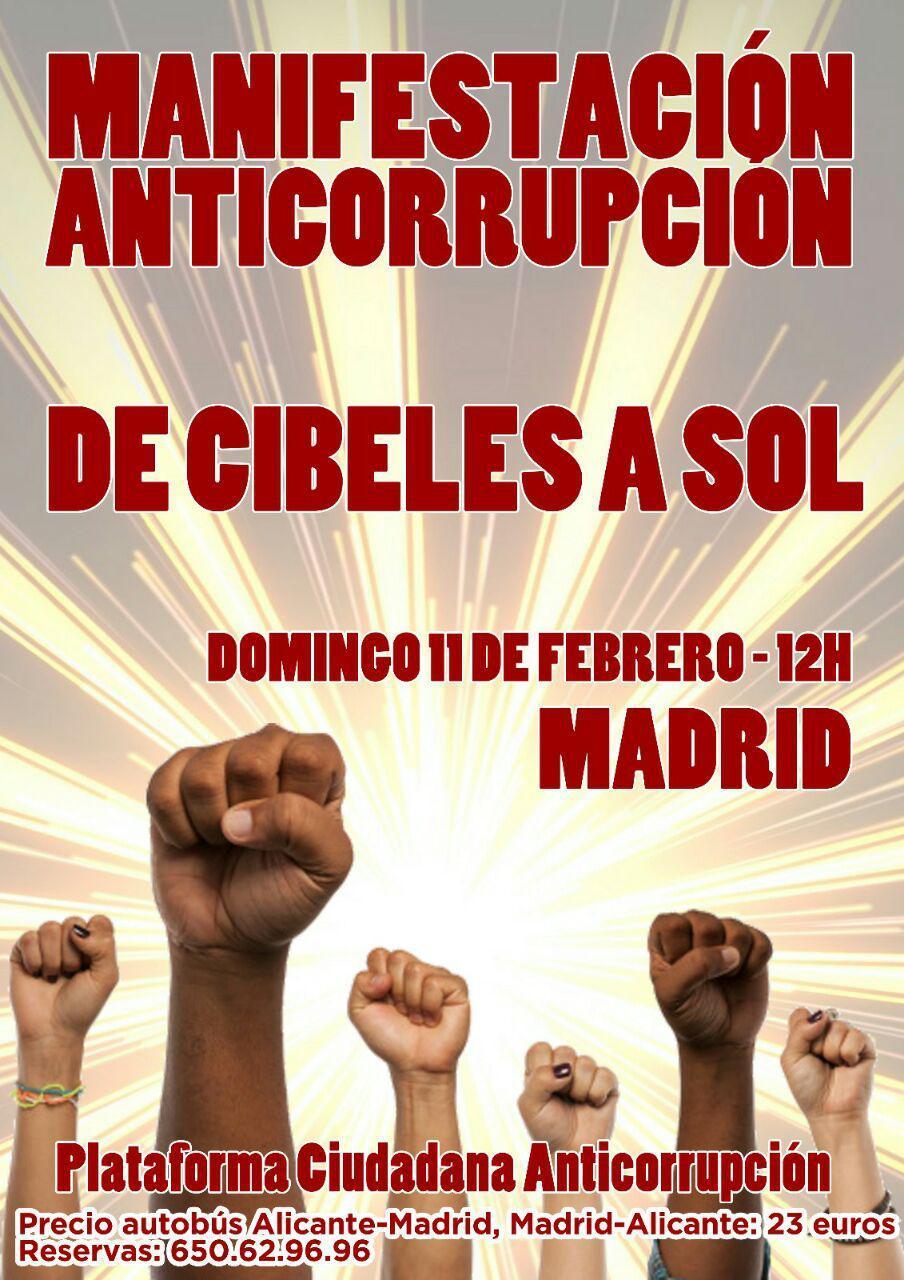 Manifestación anticorrupción de Cibeles a Sol en Madrid