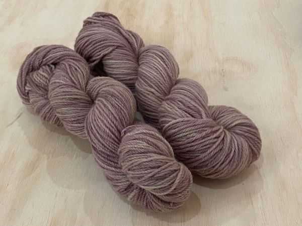 corriedale yarn dyed with rhubarb and elderberry