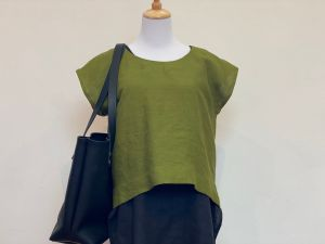 olive green handmade yarrow top in heavyweight linen