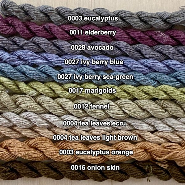 plant dyed silk embroidery thread