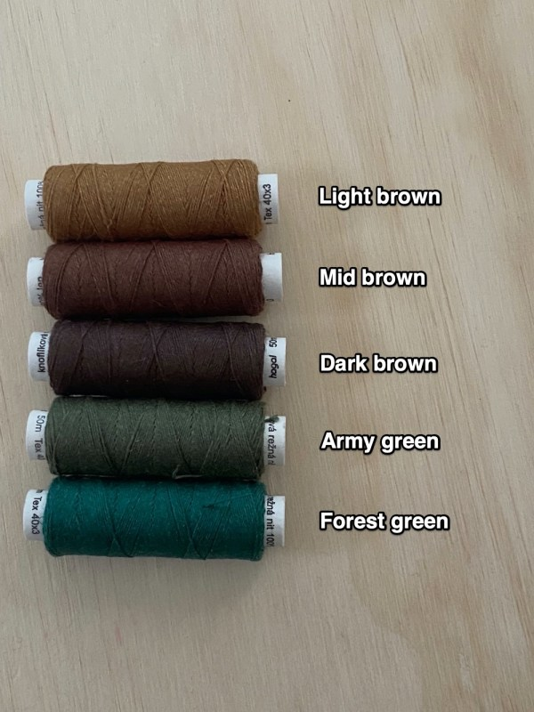 brown and green shades of linen sewing thread - australian supplier