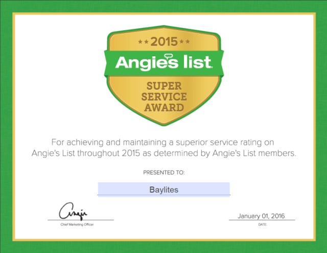 Baylites - outdoor landscape lighting - Angie's List Super Service Award