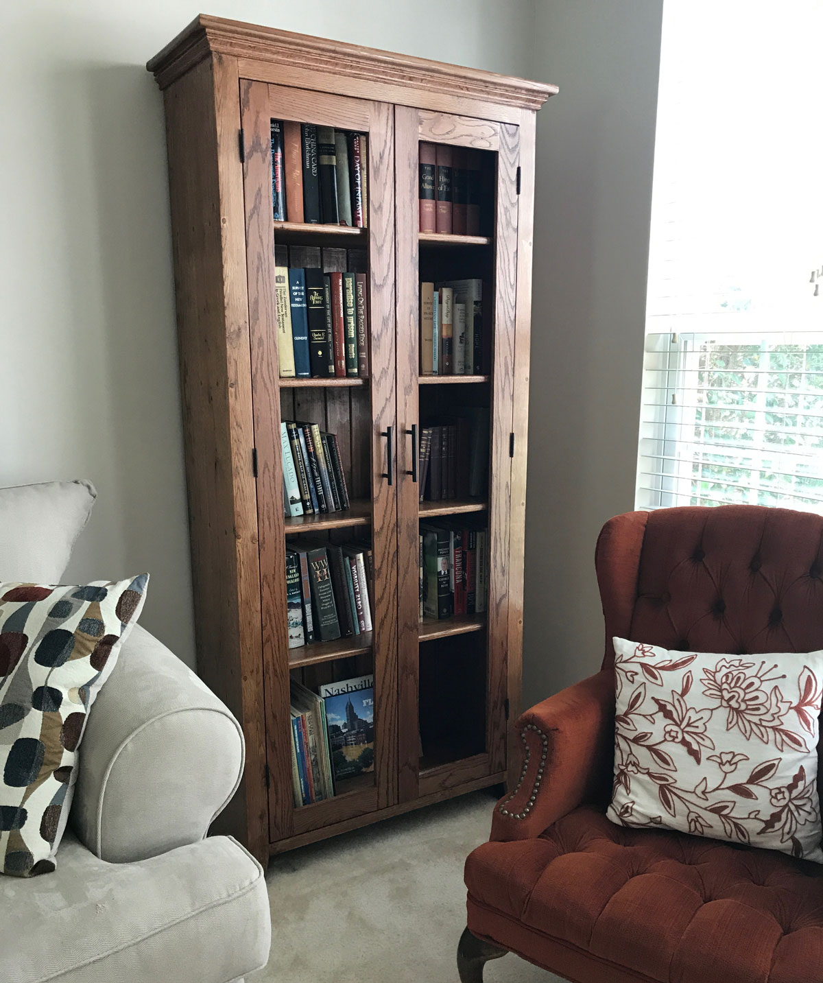 Pegged Bookshelf with glass doors