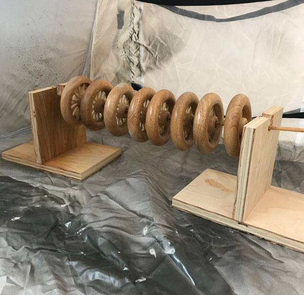 Prepping wooden wheels for spraying