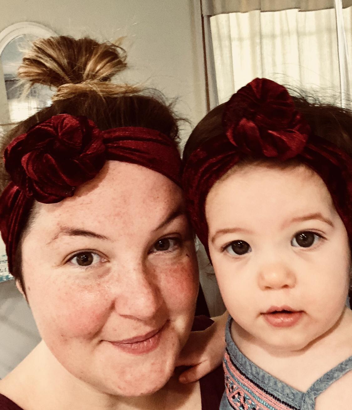 Mommy And Me Velvet Top Knot Bayou Blossom Mom N Bab Girl Set Blue Flower Size 5t