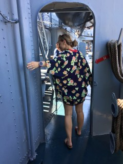 Meredith exploring the USS Kid
