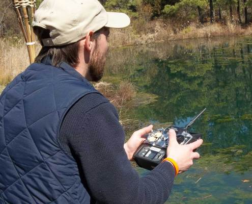man using the Futaba TX Remote Control