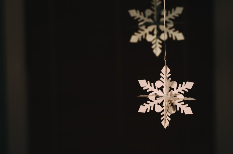 Paper snowflakes hanging in the air