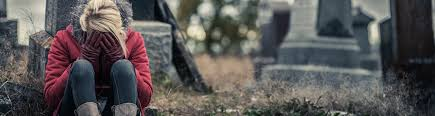 Woman in cemetary