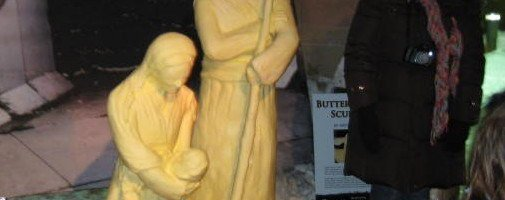 Joseph and Mary sculpted in butter