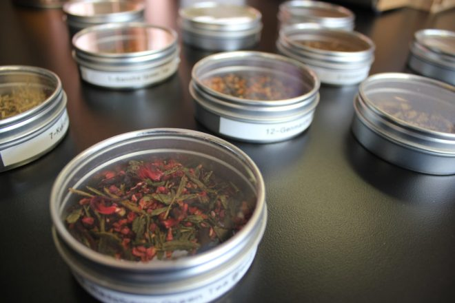 tins of loose leaf tea close up