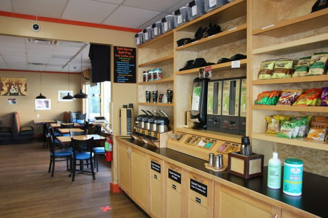 bayside coffee & tea interior of shelves and self serve station