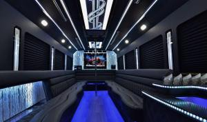 luxury black modern party bus with pole