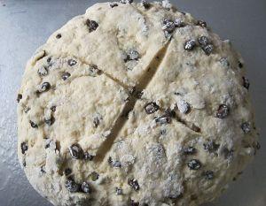 Irish soda bread ready to go in the oven