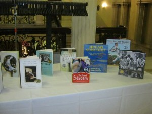 Honorees' books on display