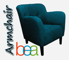 Armchair BEA logo (blue armchair with words Armchair BEA