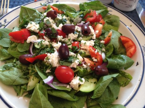 photo of Greek salad on plate