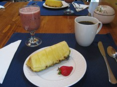 Fresh fruit and delicious coffee every morning