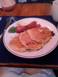 Apple pancakes with chicken-apple-maple sausage