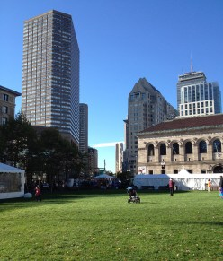 The park at Copley Square before the crowds