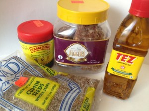 Mustard oil, jaggery, tamarind concentrate, and cumin seeds
