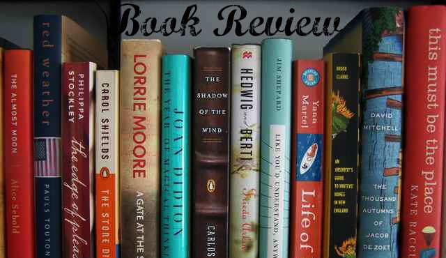 "bookshelf photo with text saying ""Book Review"""