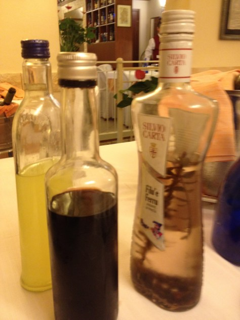 Limoncello, amaro, and grappa (after-dinner drinks)