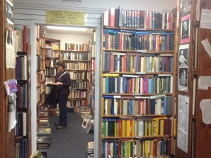 Lory browsing the shelves