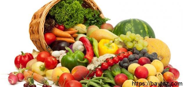 أنواع الفواكه والخضروات