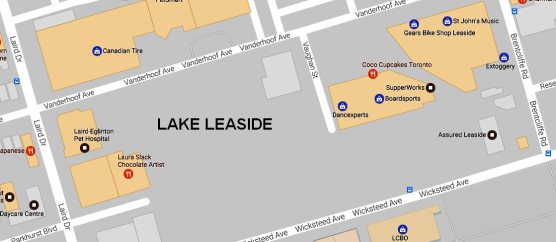 Map of general area of Lake Leaside looking northeast